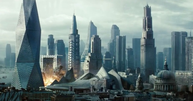 Abrams can create interesting worlds, like this Neo-London landscape.