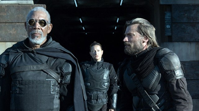 Morgan Freeman and Nikolaj Coster-Waldau have little to do and little to offer anyway in Oblivion.