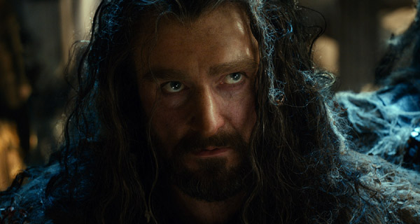 Richard Armitage returns as Thorin Oakenshield, depicting well his continuing slide into gold-obsessed madness.
