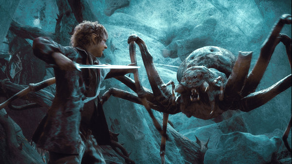 Echoing Shelob, the spiders of Mirkwood provide a horrifying foe early on.