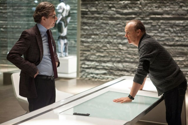 Gary Oldman and Michael Keaton have a great back and forth throughout.