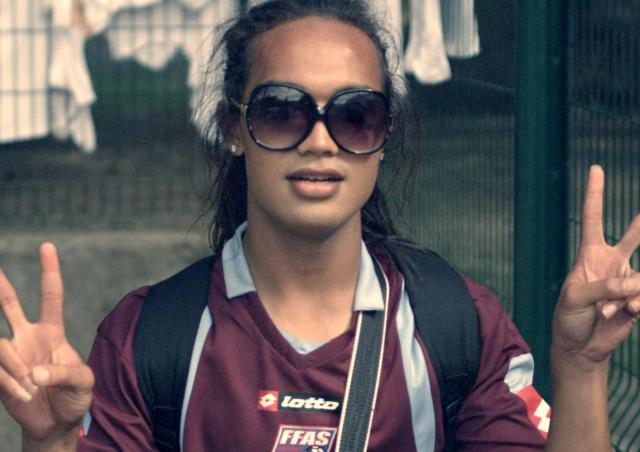 """Jaiyah """"Johnny"""" Saelua, the first openly transgender starter in international football."""
