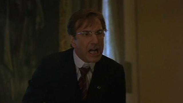 Alan Rickman is giving it socks here, but the whole scene has that unpalatable feeling.