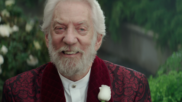 Donald Sutherland is just loving life as Snow, getting the chance to be ever more unhinged here.