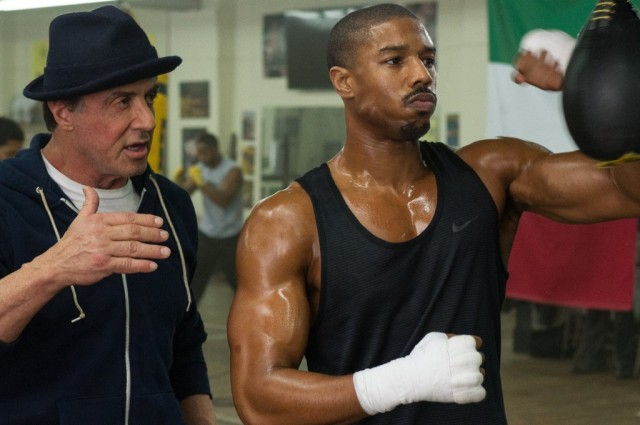 Rocky Balboa (Sylvester Stallone) and Donnie Creed (Michael B. Jordan) in Creed